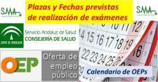 Calendario de OEPs y fechas previstas de realización de los exámenes. Número de plazas por especialidades