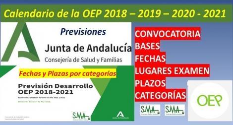 Calendario previsto para la futura OEP 2018-2021. Previsión para fechas de convocatoria, bases, plazos, lugar de exámenes, plazas y fechas de examen por categorías.