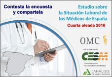 Estudio sobre la situación laboral de los médicos de España. Cuarta oleada 2016. ¿Cual es tu situación laboral? Contesta la encuesta 2016. Tu información será muy útil.