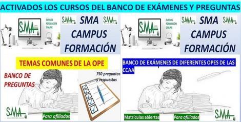 Activados los Cursos del Banco de Exámenes y Banco de Preguntas en SMA Campus Formación. Si estás afliado y te has inscrito en estos cursos, ya los puedes realizar.