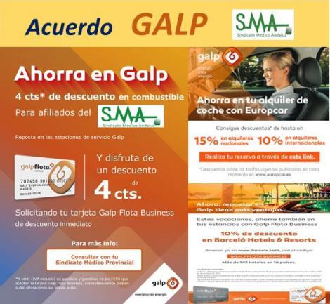 El Sindicato Médico Andaluz firma un acuerdo con GALP Energía. Descuentos en combustible y más reservas. Pregunta a tu Sindicato Provincial.