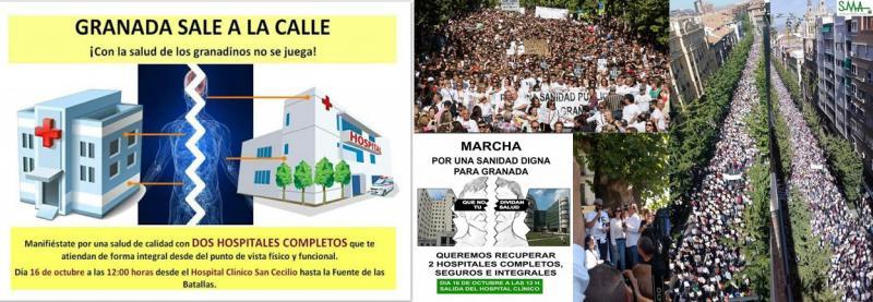 Miles de personas salen a la calle para exigir dos hospitales completos en Granada.