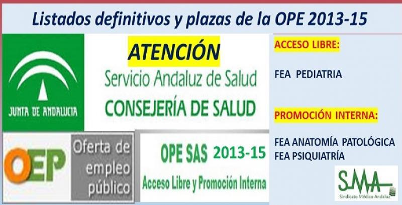 Publicadas las listas definitivas y plazas fijas de la OPE 2013-15 de FEA de Pediatría (acceso libre) y de Anatomía Patológica y Psiquiatría (promoción interna).