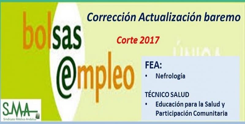 Publicada la corrección de la actualización completa de baremo del listado único de aspirantes admitidos en bolsa de FEA Nefrología y TS Educ. Salud  (corte 2017).