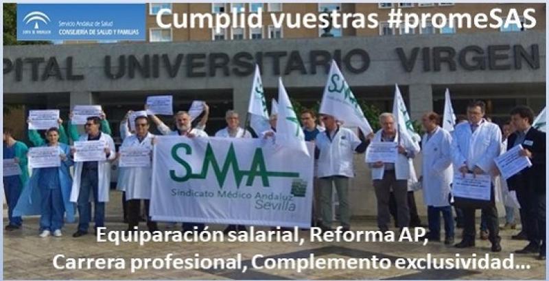 SMA seguirá con las movilizaciones si el equipo de gobierno de la Junta no cumple las promesas  electorales en materia sanitaria.