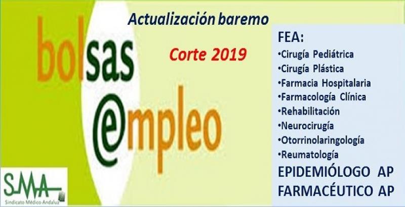 Bolsa. Publicación de listas de aspirantes con actualización del baremo de méritos (corte 2019) de diferentes categorías.