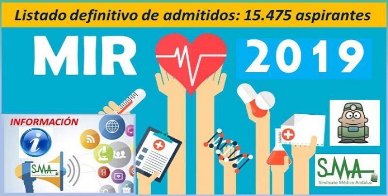 15.475 admitidos definitivos al examen MIR 2018-2019.
