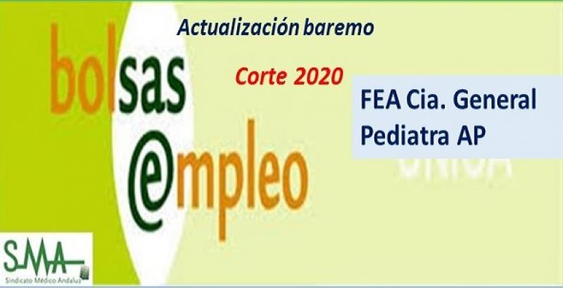 Bolsa. Publicación de listas de aspirantes con actualización del baremo de méritos (corte 2020) de Pediatra de AP y de FEA de Cirugía General.