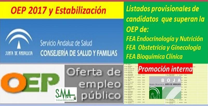 OEP 2017-Estabilización. Listado provisional de personas que superan el concurso-oposición (promoción interna) de FEA de Endocrinología, Ginecología y Bioquímica Clínica.