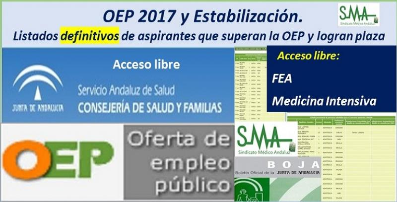 OEP 2017-Estabilización. Listados definitivos de personas aspirantes que superan el concurso-oposición y logran plaza, de FEA Medicina Intensiva, acceso libre.