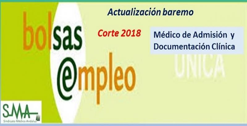 Bolsa. Publicación de listas de aspirantes con actualización del baremo de méritos (corte 2018) de Médico/a de Admisión y Docum. Clínica.