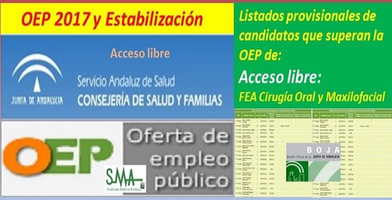 OEP 2017-Estabilización. Listado provisional de personas que superan el concurso-oposición de FEA de Cirugía Oral y Maxilofacial (acceso libre).