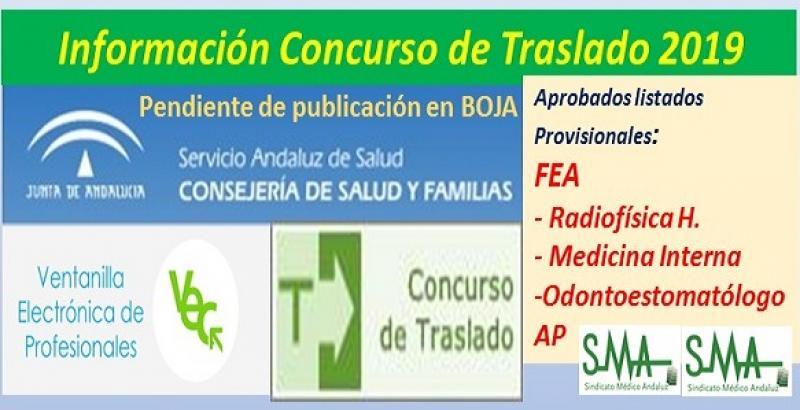 Aprobado el listado provisional del Concurso de Traslados 2019 (pendiente de publicación en Boja) de FEA de Radiofísica H., Medicina Interna y Odontoestomatólogo/a de AP.