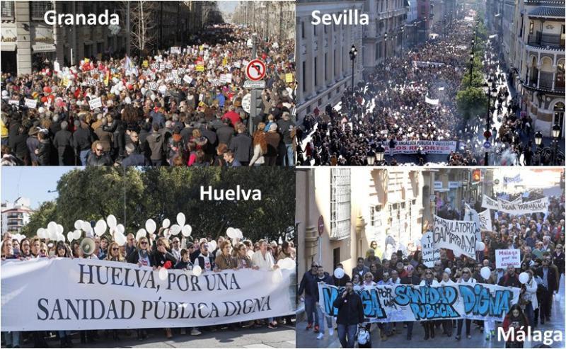 Miles de personas se manifiestan en Sevilla, Málaga, Granada y Huelva por una sanidad