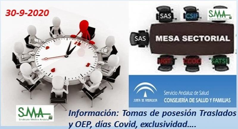 Información Mesa Sectorial 30-9-2020: Tomas de posesión Traslados y OEP, días Covid, exclusividad...
