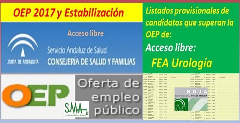 OEP 2017-Estabilización. Listado provisional de personas que superan el concurso-oposición de FEA de Urología (acceso libre).