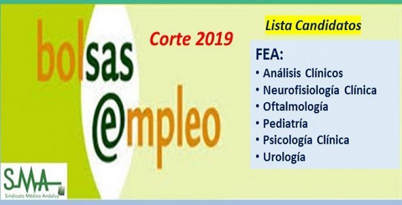 Bolsa. Publicación del listado definitivo de candidatos (corte 2019) de FEA de Pediatría, Oftalmología, Análisis Clínicos, Neurofisiología, Psicología y Urología.