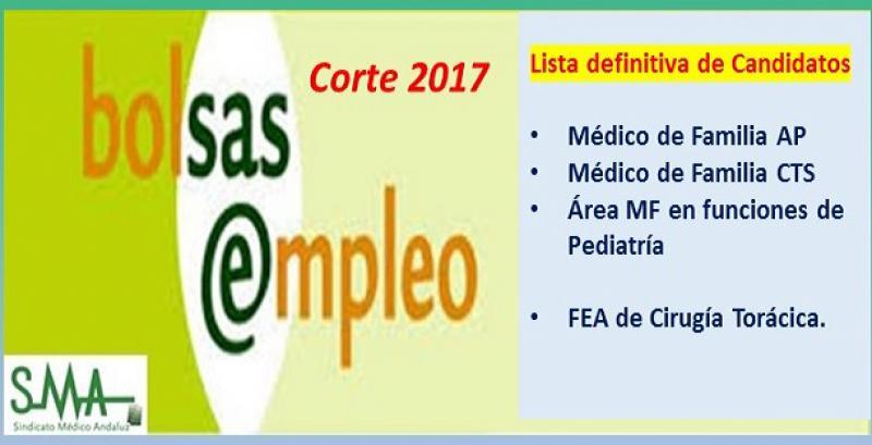 Bolsa. Publicación del listado definitivo de candidatos (corte 2017) de Médico de Familia AP, CTS, MF en funciones de Pediatría y FEA Cirugía Torácica.