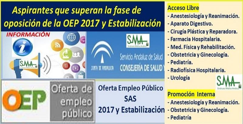 OEP 2017 y Estabilización. Listado de aspirantes que superan la fase de oposición de las pruebas selectivas por acceso libre y promoción interna de distintas especialidades de FEA.