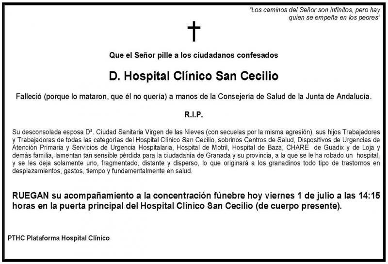 El SMA contra el cierre del Hospital San Cecilio.