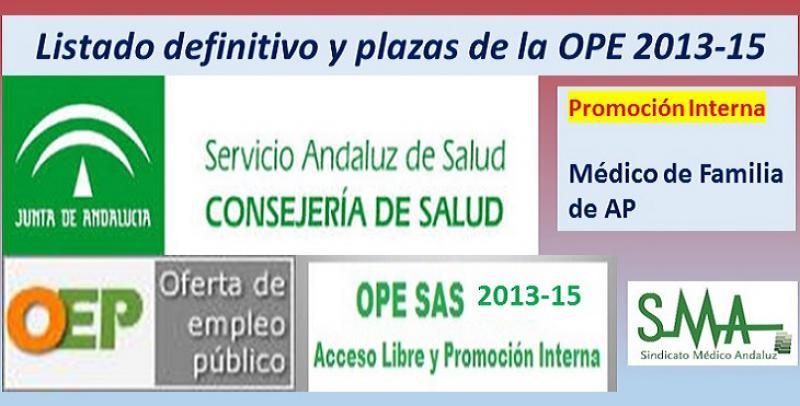 Publicadas las listas definitivas y plazas fijas de la OPE 2013-15 de Médico/a de Familia de Atención Primaria por promoción interna.
