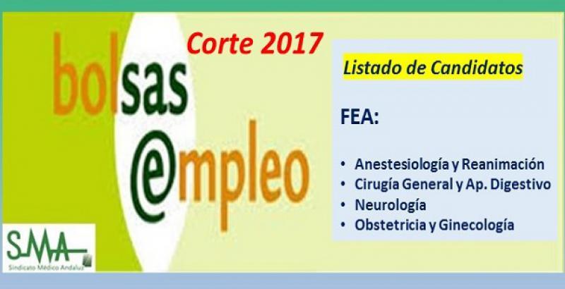 Bolsa. Publicación del listado definitivo de candidatos (corte 2017) de FEA de Anestesia, Cirugía General, Neurología y Ginecología.