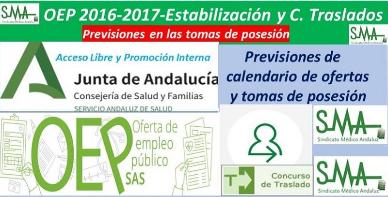 Previsiones de tomas de posesión en Concurso de Traslados y OEP 2016-2017 y Estabilización.