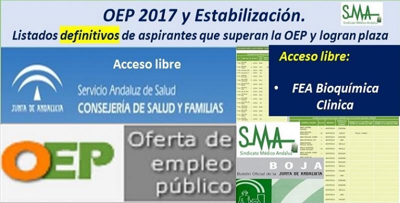 OEP 2017-Estabilización. Listados definitivos de personas aspirantes que superan el concurso-oposición y logran plaza, de FEA Bioquímica Clínica, acceso libre.