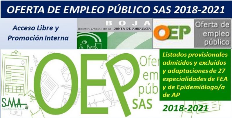 SAS. Publicados los listados provisionales de admitidos y excluidos en la OEP 2018-2021 de 27 especialidades de FEA y de Epidemiólogo/a de AP (libre y promoción interna).