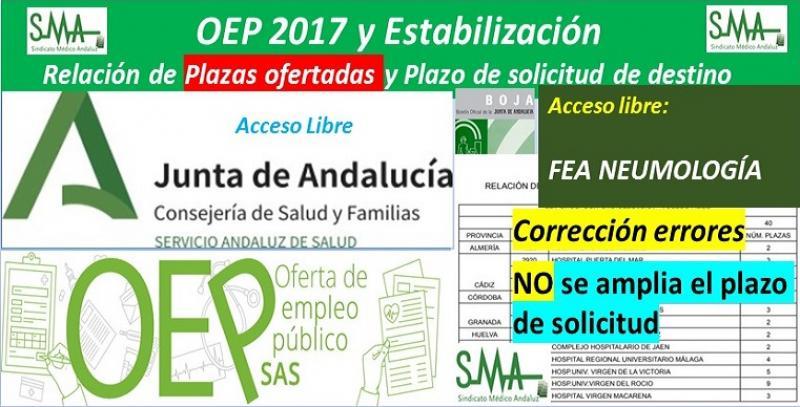 OEP 2017 y Estabilización. Corrección de errores en las plazas ofertadas de FEA Neumología, acceso libre.