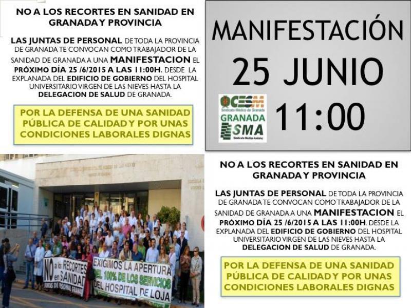 Manifestación en Granada, mañana 25 de Junio, para decir