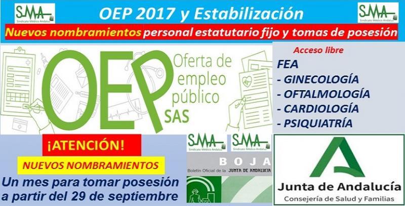 OEP 2017 y Estabilización: Publicada en BOJA, la relación complementaria de nuevos nombramientos de FEA de Ginecología, Oftalmología, Cardiología y Psiquiatría.