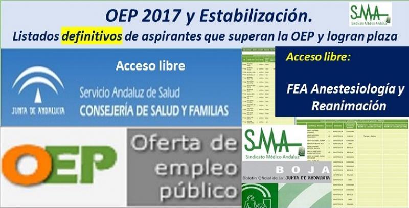 OEP 2017-Estabilización. Listados definitivos de personas aspirantes que superan el concurso-oposición y logran plaza, de FEA Anestesiología y Reanimación, acceso libre.