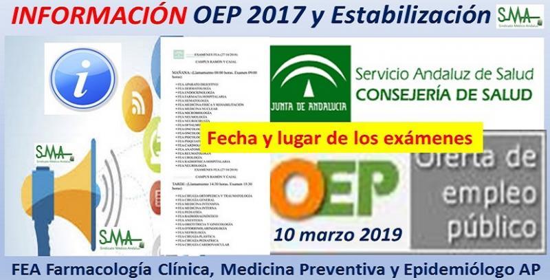 Lugar, fecha y hora de realización de los ejercicios OEP 2017 y Estabilización de FEA de Farmacología Clínica, Medicina Preventiva y Epidemiólogo de AP.