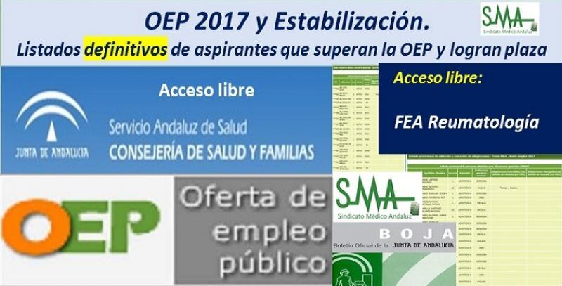 OEP 2017-Estabilización. Listados definitivos de personas aspirantes que superan el concurso-oposición y logran plaza, de FEA Reumatología, acceso libre.
