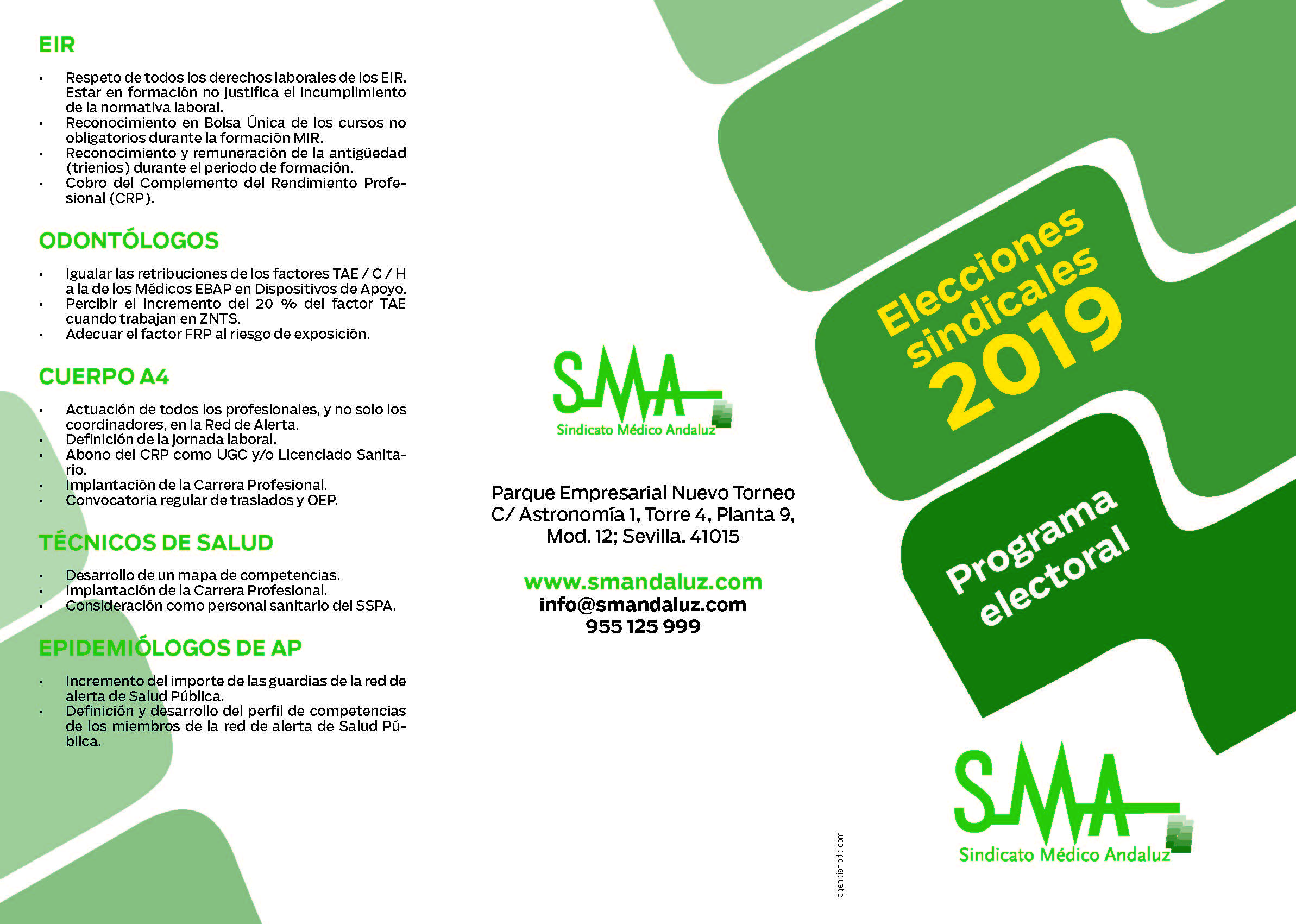 Programa electoral SMA. Elecciones sindicales SAS 2019.
