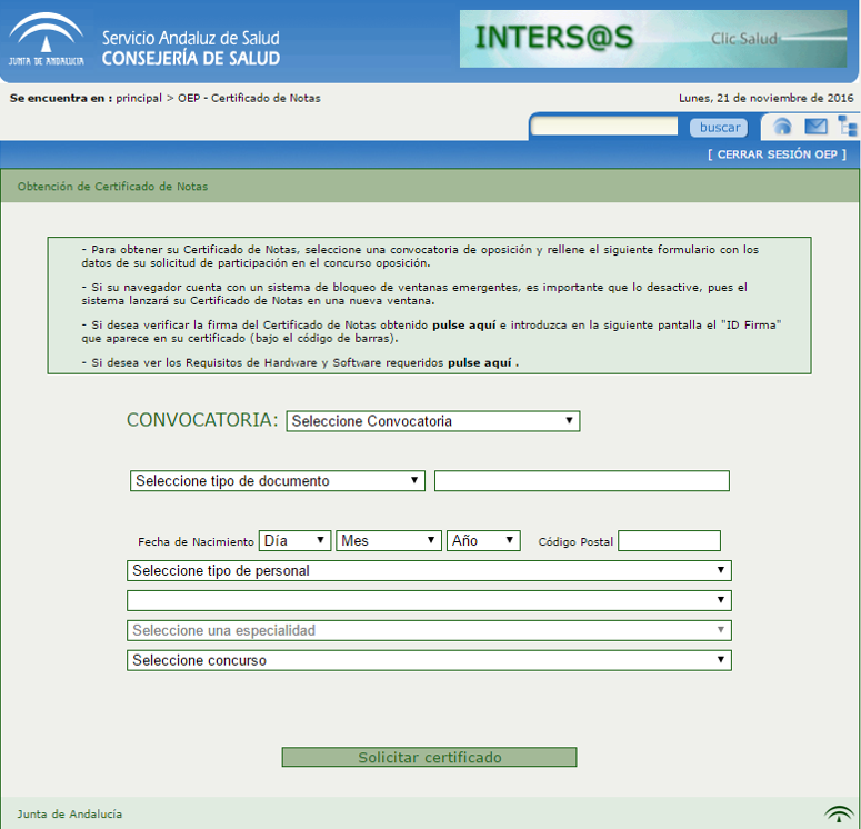Certificado de superación de la fase de oposición de la OEP 2013-15.