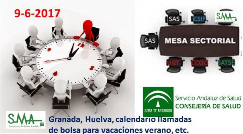 Informe mesa sectorial 9-6-2017. Granada, Huelva, ofertas contratos verano, bolsa...