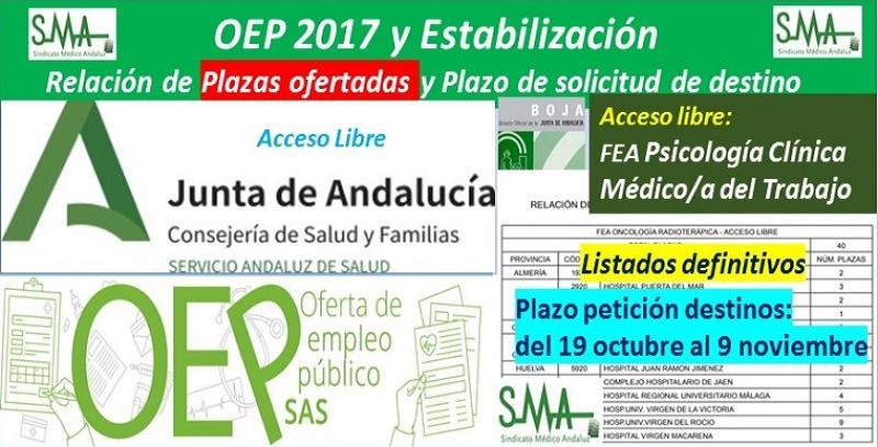 Publicada en BOJA la relación de plazas ofertadas, el plazo para solicitar destino y el listado modificado por recursos de reposición de la OEP 2017-Estabilización de FEA de Psicología Clínica y de Médico/a del Trabajo, acceso libre.