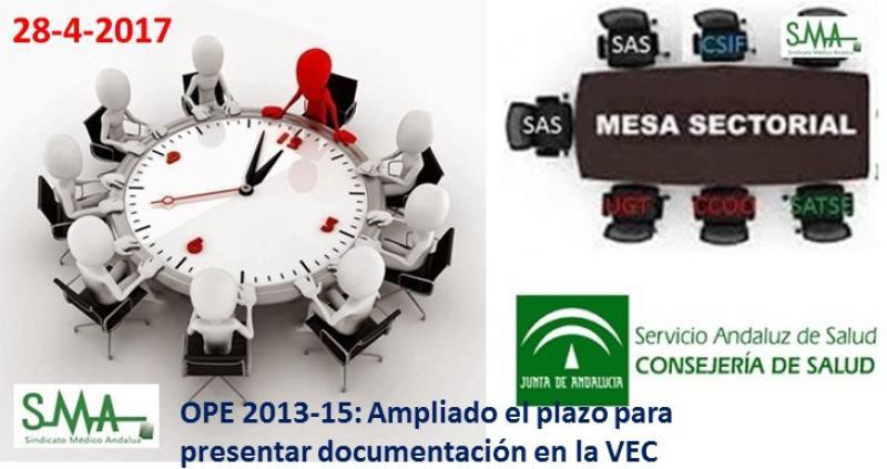 Mesa sectorial: modificación de plazos para la VEC y OPE 2013-15. Hasta el 30 de mayo.