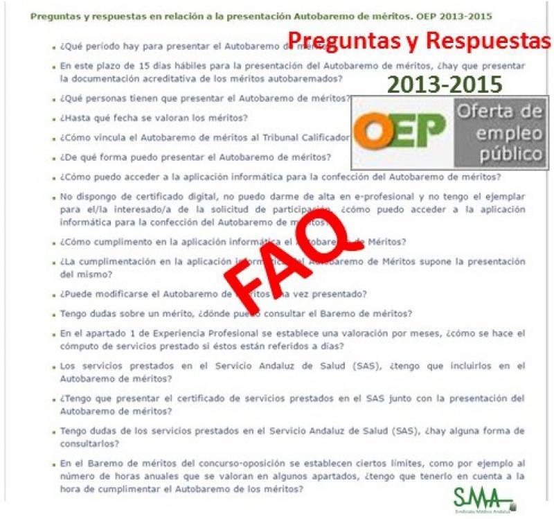 Preguntas y respuestas en relación a la presentación del Autobaremo de méritos. OEP 2013-2015.