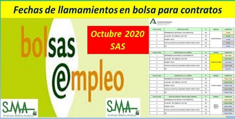 Calendario de ofertas de Bolsa de Empleo del SAS para los próximos meses.