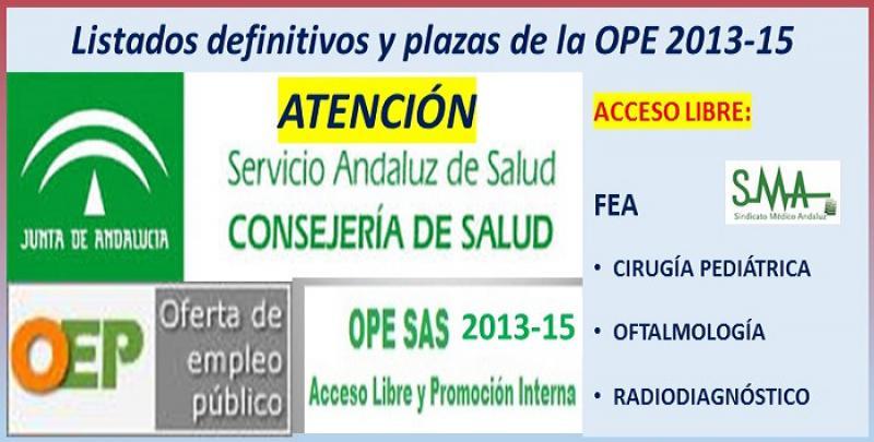 Publicadas las listas definitivas y plazas fijas de la OPE 2013-15 de FEA de Cirugía Pediátrica, Oftalmología y Radiodiagnóstico.