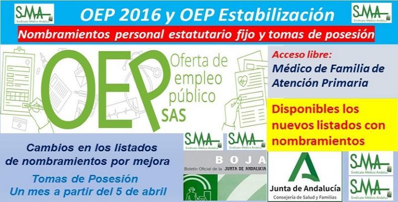 Publicados en el BOJA los nuevos nombramientos de Médico/a de Familia de Atención Primaria (OEP ordinaria y de estabilización).