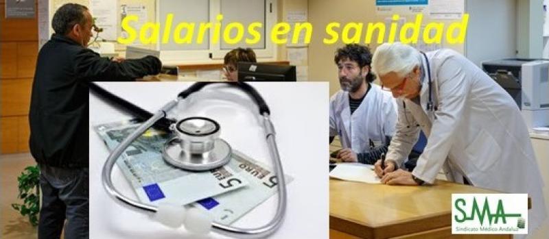 El salario mensual en Sanidad sólo crece 30 euros en cinco años.