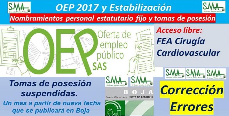 Corregido error detectado en los nombramientos OEP de FEA Cirugía Cardiovascular, acceso libre.