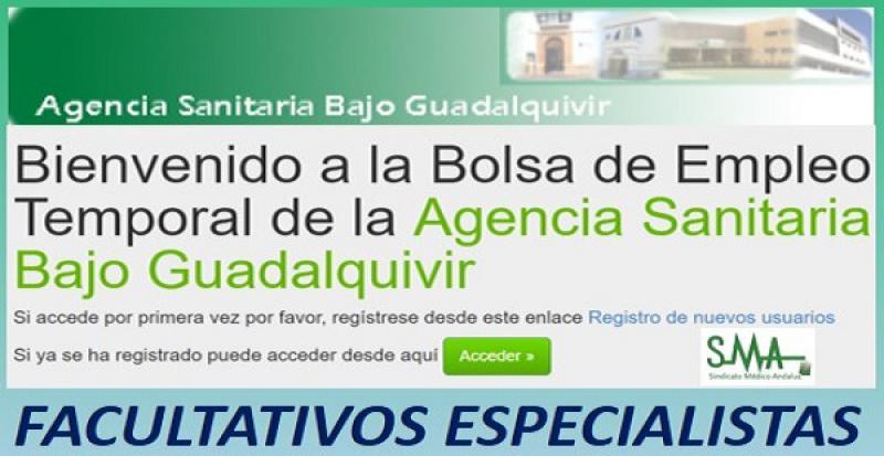 Bolsa abierta y permanente para Facultativos Especialistas en la APES Bajo Guadalquivir.