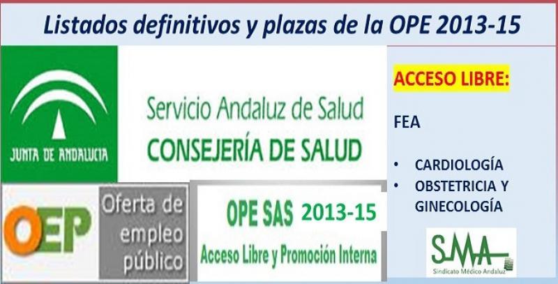 Publicadas las listas definitivas y plazas fijas de la OPE 2013-15, acceso libre de FEA de Cardiología y FEA de Obstetricia y Ginecología.