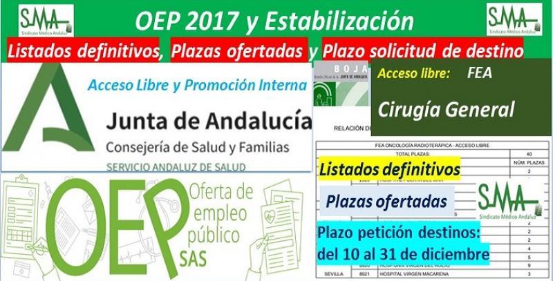 Publicado en el BOJA la aprobación de listados definitivos, la relación de las plazas ofertadas y el plazo para solicitar destino de la OEP 2017-Estabilización de FEA Cirugía General, acceso libre.