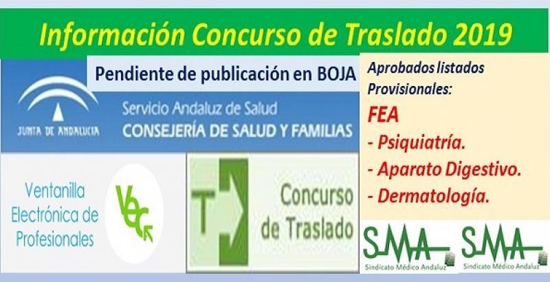 Aprobado el listado provisional del Concurso de Traslados 2019 (pendiente de publicación en Boja) de FEA Psiquiatría, Ap. Digestivo y Dermatología.
